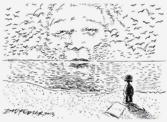 Cartoon Mandela's face in seagulls
