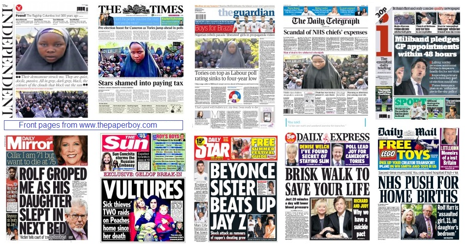front pages 13-05-14