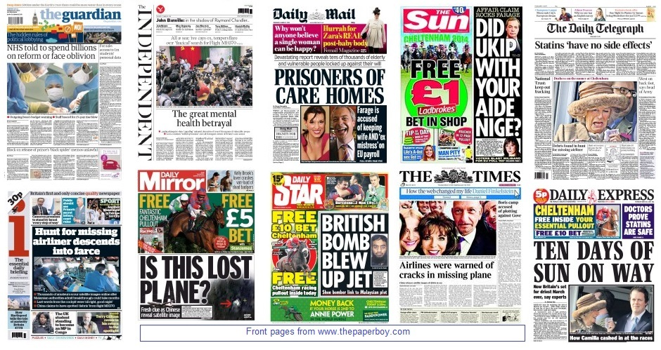front pages 13-03-14