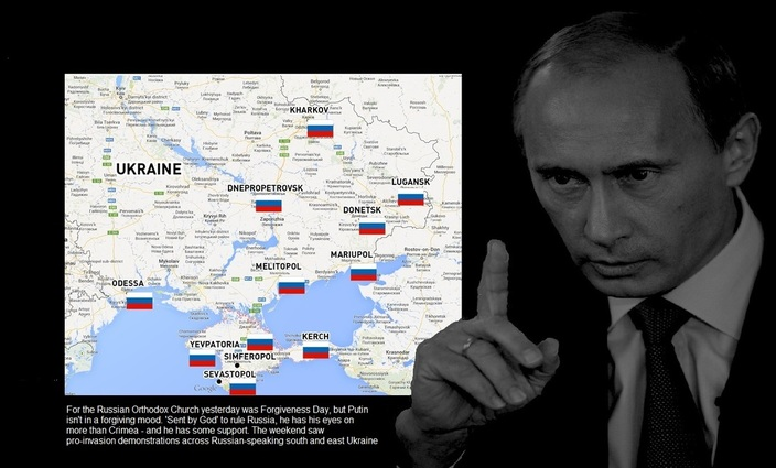 Putin and map of demonstrations in crimea