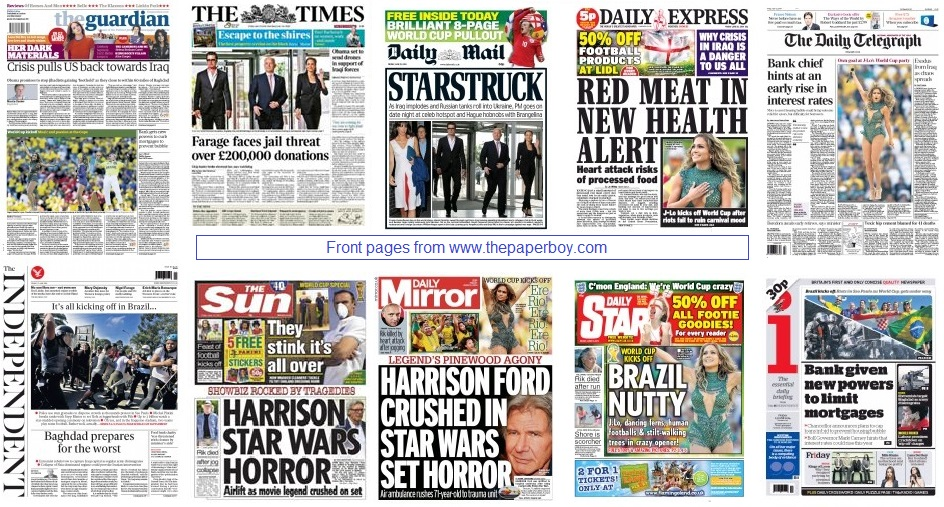 front pages 13-06-14