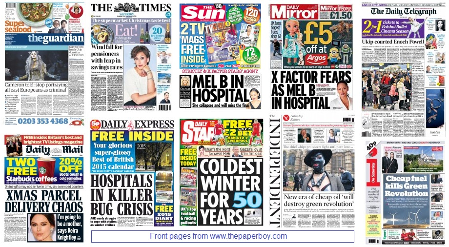 front pages 13-12-14